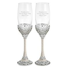 Engraved Park Avenue Toasting Flutes , Add Your Personalized Message