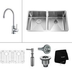Kraus Kitchen Combo 19-in x 32.75-in Double-Basin Stainless Steel Undermount Kitchen Sink