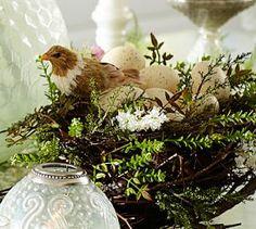 Faux Twig & Fern Bird Nest Branch Centerpiece #Pottery Barn