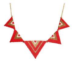 Collier plaqué or avec perles miyuki - Collier Plastron plaqué or triangles en…