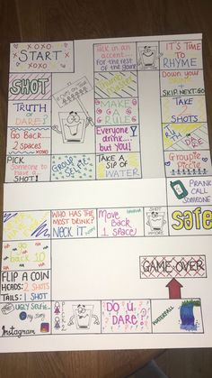 DIY drinking board game Drinking game Best Picture For Board Games display For Your Taste You are looking for something, and it is going to tell you exactly what you are looking Sleepover Party Games, Diy Party Games, Fun Sleepover Ideas, Diy Games, Drunk Games, Bored Games, Drinking Board Games, Drinking Games For Parties, Girls Night Games