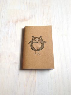 Small Notebook: Owl Notebook, Brown, Fall, Jotter, Cute, Kids, Gift, Unique, Journal, Stamped, Thanksgiving, Halloween, Stocking Stuffer on Etsy, $4.00