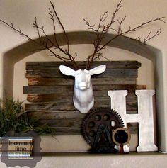 Rustic Industrial Mantle & Ceramic Deer Head 3 copy....love it!