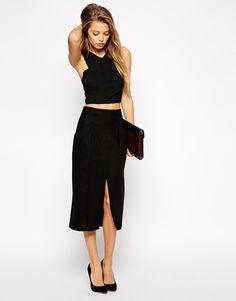 Image 1 ofASOS Linen Split Front Pencil Skirt