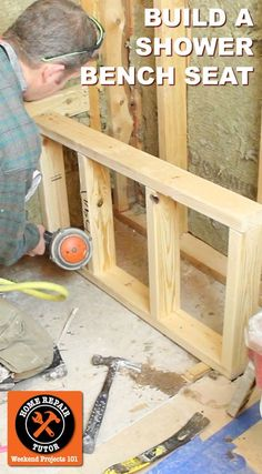 Shower bench seat construction begins with good framing.this tutorial is awesome because it shows step- Shower bench seat construction begins with good framing.this tutorial is awesome because it shows step-by-step how to frame a shower bench using Shower Tile Designs, Walk In Shower Designs, Small Shower Remodel, Diy Bathroom Remodel, Bath Remodel, Bathroom Remodeling, Bathroom Makeovers, Shower Seat, Diy Shower