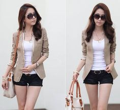 2d7dbeb4b11fd Cheap Wholesale Stylish Slimming Solid Color and Single Breasted Design  Women s Cotton Blended Blazer (DEEP