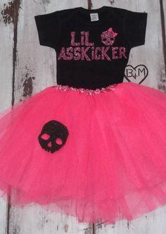Lil Asskicker- Full Outfit With Glitter Lettering, Glitter Skull