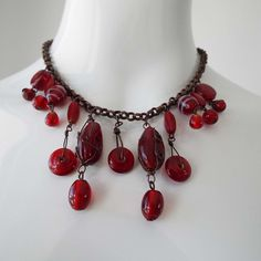 Vintage 1970's Cherry Red Glass Bead Tear Drop Necklace Fringe Necklace Retro Necklace by VintageBlackCatz on Etsy