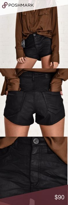 """NWT One Teaspoon Harlets Denim Shorts Black Rider NWT One Teaspoon Denim Shorts. Sleek subtle shine, stretchy & flattering. Harlets II are a high waist snug fit stretch short. Back leg panel scoops down at mid back thigh. Mostly lightly distressed but varies with wash. Pre-shrunk classic 5 pocket style with a signature bird button closure. Approx. side seam length Inc. waistband (size 26) 10.6"""" Approx. centre back length Inc. waistband (size 26) 16.33"""" Machine wash cold Black Surf Rider is…"""