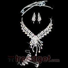 Attractive Alloy with Clear Rhinestone Bridal Jewelry Set - (Including Necklace & Tiaras & Headwear) - $86.99 - Trendget.com