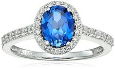 Rhodium Plated Sterling Silver Oval Created Blue Sapphire and Round Created White Sapphire Halo Ring Size 7 >>> Find out more about the great product at the image link.Note:It is affiliate link to Amazon.