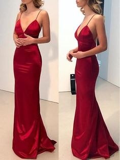 Simple Backless Dark Red Mermaid Long Evening Prom Dresses G264 ##casual#womenoutfits#dresses#borntowear