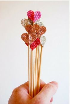 Cute and easy glitter hearts! Perfect for appetizers are parties or cute additions to flower arrangements!