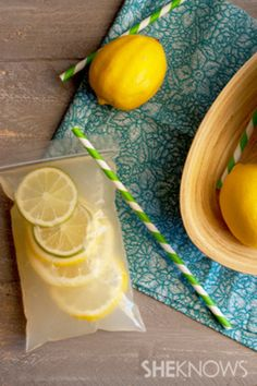 Serve boozy lemonade in plastic bags with straws to make it easy to distribute drinks evenly.