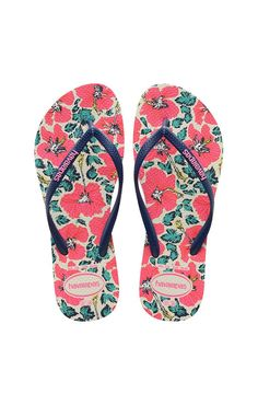 d4aaa276c53e Havaianas Slim Floral White and Navy Blue Sandal
