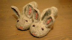 Bunny slippers wool children shoes rabbit от Laimadesign на Etsy, kr250.00