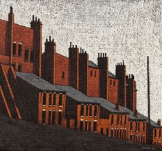 Stuart Walton 'Rosebank View', Leeds oil on canvas laid on board; Self taught artist, born in Leeds. Roller Coaster Tycoon, Crooked Man, Leeds City, Lino Cuts, Art For Art Sake, British Museum, Public Art, Art Pictures, Bookends