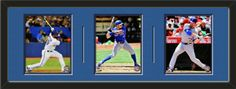 Three framed 8 x 10 inch Toronto Blue Jays photos of Brett Lawrie, double matted in team colors to 36 x 12 inches.  The lines show the bottom mat color.  $119.99 @ ArtandMore.com