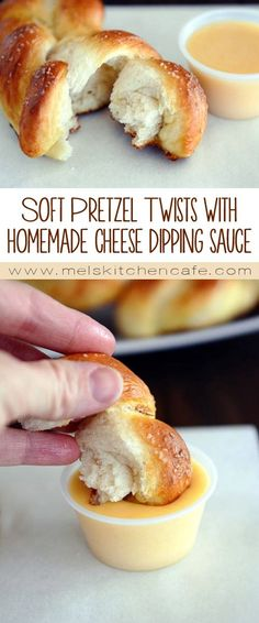 These soft pretzel twists with homemade cheese dipping sauce simply cannot be beat.