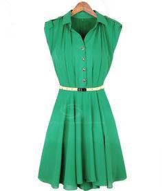 Wholesale Elegant Shirt Collar Solid Color Ruffle Beam Waist Chiffon Dress For Women (GREEN,M), Chiffon Dresses - Rosewholesale.com