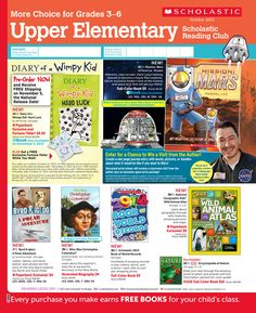It's the October 2013 Scholastic Reading Club Flyer for Upper Elementary (Grades 3-6)!