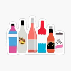 Buy 'Alcohol' by zoephilips as a Sticker, Transparent Sticker, or Glossy Sticker Custom Beer Pong Tables, Beer Table, Diy Table, Bottle Drawing, Bottle Painting, Alcohol Bottles, Cooler Painting, Sorority Canvas, Sorority Paddles