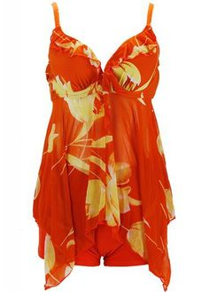 558a305ba4 Asymmetric Hem Printed Orange Padded Swimdress and Shorts on sale only  US 33.36 now