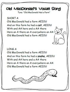 Vowel Songs for short and long sounds to the tune of Old MacDonald Had A Farm (Aa: cat, snake, Ee: hen, sheep, Ii: pig, spider, Oo: dog, goat U: duck, mule)