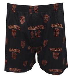 San Francisco Giants All-Over Logos Boxer Shorts  These are the perfect boxers for any Giants fan! These boxer shorts for men feature the San Francisco Giants trademark logos on a crisp black background. They are machine washable, have a button fly, and a covered elastic waistband. $15.00