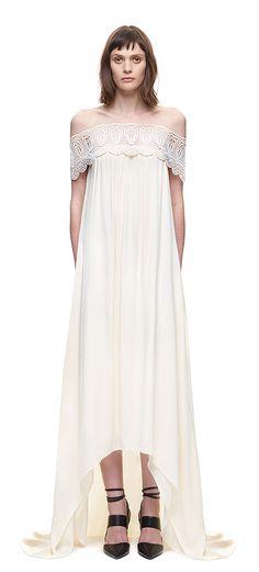 Lace Detail Off Shoulder Wedding Dress