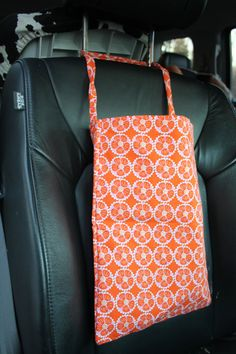 Orange Geometric Flowers Auto Trash or anything by reusezone