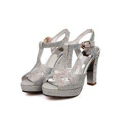 WeenFashion Girls Open Peep Toe High Heel Platform Chunky Heels PU ...