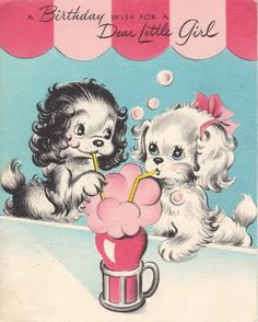 A birthday wish for a dear little girl. #dogs #vintage #birthday #cards