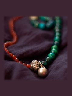 triple soul beaded necklace, handmade with Chrysocolla, Topaz and Beryl  $28.00  ::  I want it.