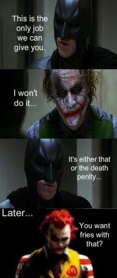 Haha. Batman and Joker as Ronald McDonald.