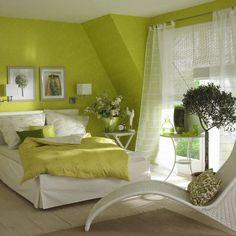 green & white bedroom