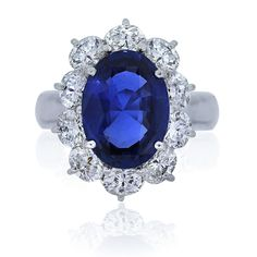 Platinum Oval Natural Unheated Burma Sapphire Diamond Ring with GIA #SolitairewithAccents