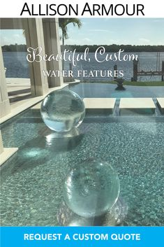 """Dreaming of transforming your outdoor space? Allison Armour's award-winning """"Aqualens"""" water feature adds luxury and beauty to any space - even pools! Contact us today for a quote. Water Fountain Design, Moon Gate, Pool Water Features, Garden Fountains, Curb Appeal, Enchanted, Swimming Pools, Globe, Patio"""