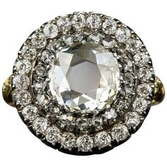 Antique English Victorian Large  Diamond Circular Cluster Ring    From a unique collection of vintage cluster rings at https://www.1stdibs.com/jewelry/rings/cluster-rings/