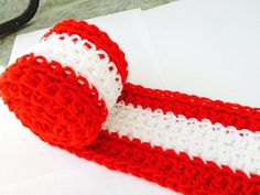 Available Here: https://www.etsy.com/listing/209049166/canada-flag-scarf-with-fringe-5-feet-15?ref=listing-shop-header-1 Canada Flag Scarf. Handmade Crochet with Fringe. Available on Etsy.