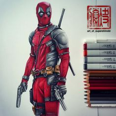 """art_of_supershinobi on Instagram: """"Deadpool - Merc with a mouth! Copic markers with Prismacolor and Faber-Castell pencils on Strathmore Bristol paper """""""