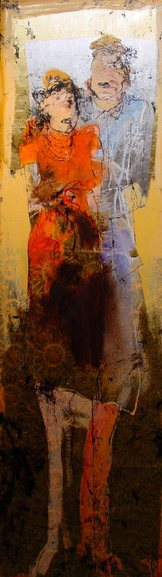 """Sjer Jacobs work is inventive and you regonize it instantly (oil on canvas 60x200cm """"samen"""")."""