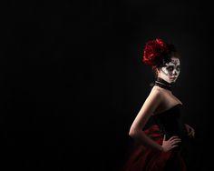 Glamour Sugar Skull Halloween Portrait Photo Shoot