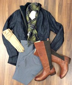 OOTD  -   BARBOUR Cavalry polarquilt jacket BARBOUR Dolwen crew neck sweater BARBOUR Tartan lambswool scarf NYDJ Alina legging jeans FRYE Molly Gore  ECHO touch gloves