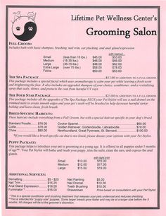 Grooming Services Price Sheet