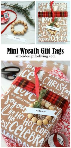Put together these easy and inexpensive mini wreath gift tags, plus discover more beautiful and personalized gift wrapping ideas for the Christmas season. Details at SatoriDesignforLi...