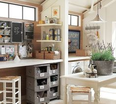 Room Inspiration: Shared space - laundry and craft room combo. Idea from http://junkgardengirl.blogspot.com/search/label/laundry%20room