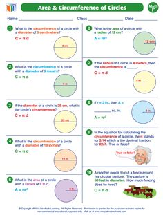 Finding circumference using diameter geometry circumference area and circumference of circles to view more grade6 math worksheets visit ccuart Gallery