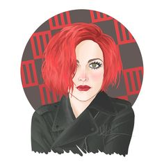 Hayley Williams, red hair, leather jacket, paramore, illustration, fan art.