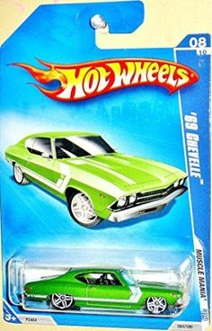 HOT WHEELS 08/10 '09 MUSCLE MANIA '69 CHEVELLE LT GREEN WITH WHITE STRIPE 084/190 by Hot Wheels